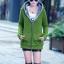 Pre-Order เสื้อโค้ทผู้หญิงแฟชั่น สีเขียว แต่งริมสีเทา มีฮู๊ด บุด้วยขนสัตว์สังเคราะห์นิ่มๆ แขนจั๊ม แฟชั่นเกาหลี thumbnail 3