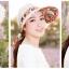 Pre-order หมวกแฟชั่น หมวกแก็ปปีกกว้าง หมวกฤดูร้อน กันแดด กันแสงยูวี สีเบจแต่งด้วยผ้าพิมพ์ลายดอกไม้ thumbnail 4