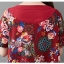 ชุดเดรสผ้าฝ่ายผสม ลายดอกไม้ มีกระเป๋า และกระดุมติดด้านข้างปรับทรงได้ สีแดง thumbnail 11
