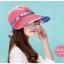 Pre-order หมวกแฟชั่น หมวกแก็ปปีกกว้าง หมวกฤดูร้อน กันแดด กันแสงยูวี สีแดงแตงโมแต่งด้วยผ้าพิมพ์ลายดอกไม้ thumbnail 1