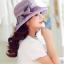 Pre-order หมวกผ้าไหมติดโบว์แฟชั่นฤดูร้อน กันแดด กันแสงยูวี สวยหวาน สีม่วง thumbnail 3