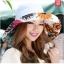 Pre-order หมวกแฟชั่น หมวกใบกว้าง หมวกฤดูร้อน กันแดด หมวกกันแสงยูวี ผ้าลินิน สีขาวพิมพ์ลายดอกไม้ด้านใน thumbnail 1