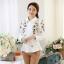 Pre-order เสื้อเชิ้ตแขนยาว เสื้อทำงานแขนยาว สีขาวพิมพ์ลายดอกไม้ แฟชั่นสไตล์เกาหลีปี 2015 thumbnail 3