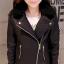 Pre-Order เสื้อแจ็คเก็ตหนังผู้หญิง สีดำ แต่งซิปหน้าและกระเป๋า ปกเฟอร์ แขนยาว แฟชั่นเสื้อกันหนาวสไตล์เกาหลี thumbnail 1