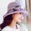 Pre-order หมวกผ้าไหมติดโบว์แฟชั่นฤดูร้อน กันแดด กันแสงยูวี สวยหวาน สีม่วง thumbnail 2