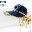 Pre-order หมวกแฟชั่น หมวกแก็ปปีกกว้าง หมวกฤดูร้อน กันแดด กันแสงยูวี สีบลูยีนส์แต่งด้วยผ้าพิมพ์ลายดอกไม้ thumbnail 3