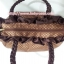 กระเป๋าถือ นารายา ผ้าซาตินมัน ลายตารางเล็ก สีน้ำตาล มีระบายด้านบน สายหิ้ว หูเปีย (กระเป๋านารายา กระเป๋าผ้า NaRaYa กระเป๋าแฟชั่น) thumbnail 6