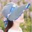 Pre-order หมวกแฟชั่น หมวกแก็ปปีกกว้าง หมวกฤดูร้อน กันแดด กันแสงยูวี สีฟ้าอ่อนแต่งด้วยผ้าพิมพ์ลายดอกไม้ thumbnail 1