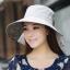 Pre-order หมวกแฟชั่น หมวกใบกว้าง หมวกฤดูร้อน กันแดด หมวกกันแสงยูวี ผ้าลินิน สีเทาพิมพ์ลายดอกไม้ thumbnail 1