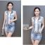 Pre-Order ขุดเสื้อแจ็คเก็ตยีนส์คอปกแขนกุด กระโปรงยีนส์สั้น ยีนส์ฟอกสีประดับเพชร แฟชั่นเกาหลี thumbnail 9