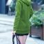 Pre-Order เสื้อโค้ทผู้หญิงแฟชั่น สีเขียว แต่งริมสีเทา มีฮู๊ด บุด้วยขนสัตว์สังเคราะห์นิ่มๆ แขนจั๊ม แฟชั่นเกาหลี thumbnail 2