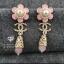 พร้อมส่ง ~ ต่างหูทรงดอกไม้ ดีเทลดอกไม้ด้านบนสีชมพูพาสเทลมีตุ้งติ้งด่านล่าง thumbnail 1