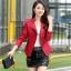 (Pre-order) เสื้อแจ็คเก็ตหนังแท้ เสื้อหนัง เสื้อโค๊ทหนัง เสื้อหนังแกะ แฟชั่นเสื้อหนัง สีแดง thumbnail 2