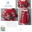 ชุดเดรสผ้าฝ่ายผสม ลายดอกไม้ มีกระเป๋า และกระดุมติดด้านข้างปรับทรงได้ สีแดง thumbnail 8