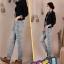 Pre-Order กางเกงยีนส์ฟอก สไตล์เรโทร ยีนส์ขาด เอวสูง ขายาว ปักหมุด ปะประดับผ้าลาย เนื้อผ้านิ่ม ไซส์ใหญ่ thumbnail 4