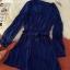 ชุดเดรสแฟชั่นผ้าชีฟองนิ่มพริ้วๆ มีสายผูกเอว กระดุมสีทองสีน้ำเงิน *มีภาพงานขายจริง thumbnail 6