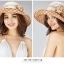 Pre-order หมวกผ้าไหมแท้ติดโบว์ดอกไม้แฟชั่นฤดูร้อน กันแดด กันแสงยูวี สวยหวาน สีน้ำตาล thumbnail 5
