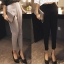 Pre-Order กางเกงสแลคผู้หญิง กางเกงทำงาน ผ้าโพลีเอสเตอร์ กางเกงทรงดินสอ เอวสูง ไซส์ใหญ่ สีดำ thumbnail 4