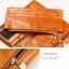 Pre-Order กระเป๋าสตางค์ผู้หญิง ใบยาว 3 พับถอดไส้ในออกได้ สีน้ำตาล หนังแท้ หนังวัว สไตล์เกาหลี JUNLAN thumbnail 7