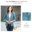 (Pre-order) เสื้อสูทแฟชั่น เสื้อสูทผู้หญิง แขนสามส่วน ผ้าลินินผสม สีฟ้า thumbnail 1