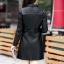 (Pre-order) เสื้อแจ็คเก็ตหนังแท้ เสื้อโค๊ตยาว หนังแกะ แฟชั่นเกาหลี สีดำ thumbnail 3