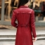 (Pre-order) เสื้อแจ็คเก็ตหนังแท้ เสื้อโค๊ตยาว หนังแกะ แฟชั่นเกาหลี สีไวน์แดง thumbnail 3