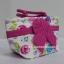 กระเป๋าถือ นารายา Size S ผ้าคอตตอน พื้นสีขาว ลายดอกไม้ หลากสี ผูกโบว์ สีชมพู สายหิ้ว หูเกลียว (กระเป๋านารายา กระเป๋าผ้า NaRaYa กระเป๋าแฟชั่น) thumbnail 1