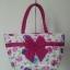 กระเป๋าสะพาย นารายา Size L ผ้าคอตตอน พื้นสีขาว ลายดอกไม้ หลากสี ผูกโบว์ สายหิ้ว หูเกลียว (กระเป๋านารายา กระเป๋าผ้า NaRaYa กระเป๋าแฟชั่น) thumbnail 2