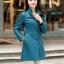 (Pre-order) เสื้อแจ็คเก็ตหนังแท้ เสื้อโค๊ตยาว หนังแกะ แฟชั่นเกาหลี สีฟ้า thumbnail 1