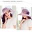 Pre-order หมวกผ้าไหมแท้ติดโบว์ดอกไม้แฟชั่นฤดูร้อน กันแดด กันแสงยูวี สวยหวาน สีม่วง thumbnail 3