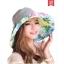 Pre-order หมวกแฟชั่น หมวกใบกว้าง หมวกฤดูร้อน กันแดด หมวกกันแสงยูวี ผ้าลินิน สีเทาพิมพ์ลายดอกไม้โทนสีฟ้า thumbnail 1