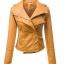 พรีออเดอร์ เสื้อแจ็คเก็ตหนัง เสื้อแจ็คเก็ตผู้หญิง เข้ารูปพอดีตัว คอปก สีคัสตาร์ด แต่งซิปเก๋ แฟชั่นเกาหลี thumbnail 2