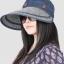 Pre-order หมวกแฟชั่น หมวกแก็ปปีกกว้าง หมวกฤดูร้อน กันแดด ผูกโบว์ลายจุด สีบลูยีนส์ thumbnail 1