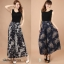 (Pre-Order) กระโปรงกางเกง ผ้าลินิน ผ้าพิมพ์ลาย แฟชั่นมาใหม่สไตล์เกาหลี (ลาย A ดอกไม้ Pteris ลาย B สีฟ้า) thumbnail 1