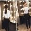 Pre-Order กางเกงสแลคผู้หญิง กางเกงทำงาน ผ้าโพลีเอสเตอร์ กางเกงทรงดินสอ เอวสูง ไซส์ใหญ่ สีดำ thumbnail 2