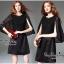 Elegant Black Lace Shawl Korea Dress เดรสสวยสง่าสไตล์งานแบรนด์ หรูหราด้วยทรงเดรสแขนกุด ตกแต่งผ้าลูกไม้เนื้อดีคลุมไหล่และช่วงอกของเดรส ผ่าช่วงแขนให้ดูมีดีเทลสวยสง่า กระโปรงทรงปล่อย งานสวยตามแบบ ใช้เนื้อผ้าอย่างดีในการตัดเย็บ บอกเลยงานนี้พลาดไม่ได้เลยค่ะ เน thumbnail 5