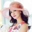 Pre-order หมวกผ้าไหมแท้ติดโบว์ดอกไม้แฟชั่นฤดูร้อน กันแดด กันแสงยูวี สวยหวาน สีชมพู thumbnail 1