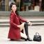 (Pre-order) เสื้อแจ็คเก็ตหนังแท้ เสื้อโค๊ตยาว หนังแกะ แฟชั่นเกาหลี สีไวน์แดง thumbnail 4