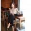(Pre-Order) เสื้อทำงาน ผูกโบว์ที่คอเสื้อ แขนยาว ผ้าซาติน สีแอพพริคอต thumbnail 5