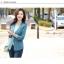 (Pre-order) เสื้อสูทแฟชั่น เสื้อสูทผู้หญิง แขนสามส่วน ผ้าลินินผสม สีฟ้า thumbnail 3