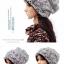 (Pre-order) หมวกคลุมผม หมวกไหมพรมผ้าฝ้ายถัก แฟชั่นหมวกคลุมผม สวยเก๋ ปักลวดลายตาข่าย-ดอกไม้ สีเทา thumbnail 2