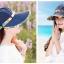 Pre-order หมวกแฟชั่น หมวกแก็ปปีกกว้าง หมวกฤดูร้อน กันแดด กันแสงยูวี สีบลูยีนส์แต่งด้วยผ้าพิมพ์ลายดอกไม้ thumbnail 2