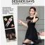 ชุดเดรส สีดำยืดหยุ่นพิมพ์ลายการ์ตูนหน้าอก ตัดต่อกระโปรง2ชั้นด้วยผ้าชีฟองโปร่งแสงตัดขอบสีดำ thumbnail 15