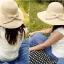 Pre-order หมวกฟางปีกกว้างแฟชั่นฤดูร้อน กันแดด กันแสงยูวี 6 สี สีเบจ thumbnail 2
