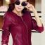 Pre-Order เสื้อแจ็คเก็ตหนังผู้หญิง สีไวน์แดง แต่งซิปหน้าและกระเป๋า คอกลม แขนยาว แฟชั่นเสื้อกันหนาวสไตล์เกาหลี thumbnail 1