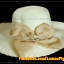 หมวกสาน คุณนายปีกรอบกว้างมาก สีขาวครีม โบว์โทนน้ำตาลทอง สวยหวานมากๆ thumbnail 2