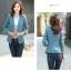 (Pre-order) เสื้อสูทแฟชั่น เสื้อสูทผู้หญิง แขนสามส่วน ผ้าลินินผสม สีฟ้า thumbnail 4