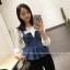 เสื้อยีนส์แฟชั่นเกาหลี สายเดี่ยว ผ้ายีนส์มีซิปด้านหลัง ชายระบาย thumbnail 3