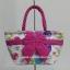 กระเป๋าถือ นารายา Size S ผ้าคอตตอน พื้นสีขาว ลายดอกไม้ หลากสี ผูกโบว์ สีชมพู สายหิ้ว หูเกลียว (กระเป๋านารายา กระเป๋าผ้า NaRaYa กระเป๋าแฟชั่น) thumbnail 2