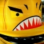 หมวกฉลาม ปากอ้า สีเหลือง (2 ปีก) ลายใหม่ หน้ากวน thumbnail 4